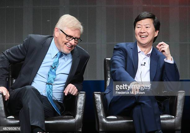Actor Dave Foley and writer/executive producer Ken Jeong speak onstage during the 'Dr Ken' panel discussion at the ABC Entertainment portion of the...
