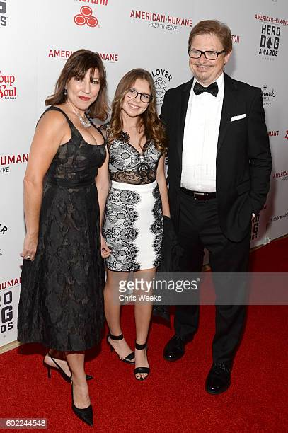 Actor Dave Foley wife Chrissy Guerrero and daughter Alina Foley attend the Sixth Annual American Humane Association Hero Dog Awards at The Beverly...