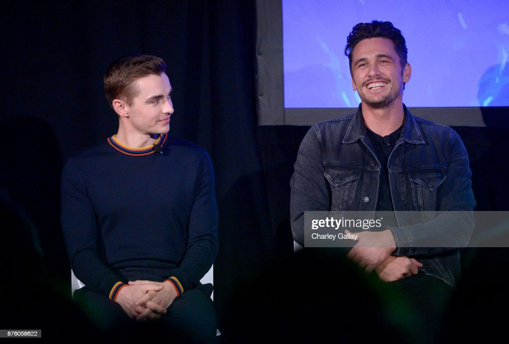 Actor Dave Franco (L) and actor/director James Franco speak onstage during the 'Disaster Artist' panel, part of Vulture Festival LA Presented by AT&T at Hollywood Roosevelt Hotel on November 18, 2017 in Hollywood, California.