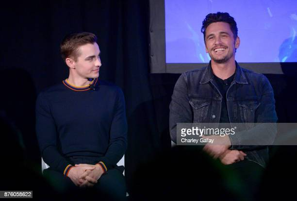 Actor Dave Franco and actor/director James Franco speak onstage during the 'Disaster Artist' panel part of Vulture Festival LA Presented by ATT at...