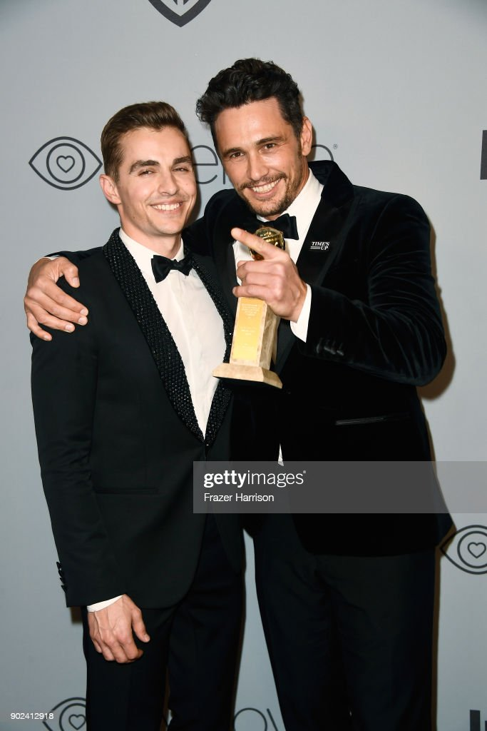 Actor Dave Franco (L) and filmmaker-actor James Franco attend the 19th Annual Post-Golden Globes Party hosted by Warner Bros. Pictures and InStyle at The Beverly Hilton Hotel on January 7, 2018 in Beverly Hills, California.