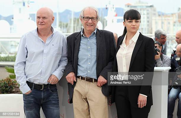 Actor Dave Johns director Ken Loach and actress Hayley Squires attend the 'I Daniel Black ' photocall during the 69th annual Cannes Film Festival at...