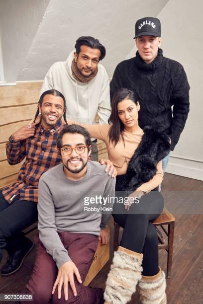 Actor Daveed Diggs director Carlos Lopez Estrada and actors Utkarsh Ambudkar Janina Gavanka and Rafael Casal from the film 'Blindspotting' poses for...