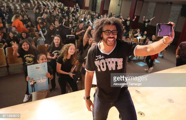 Actor Daveed Diggs is seen at South Miami Middle School during the movie 'Wonder' QA on November 7 2017 in Miami Florida