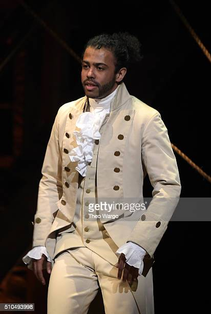 Actor Daveed Diggs performs on stage during Hamilton GRAMMY performance for The 58th GRAMMY Awards at Richard Rodgers Theater on February 15 2016 in...