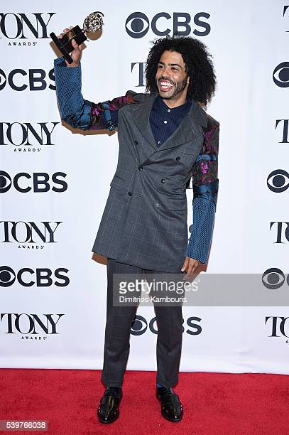 Actor Daveed Diggs poses with his award for Best Performance by an Actor in a Featured Role in a Musical for Hamilton during the 70th Annual Tony...