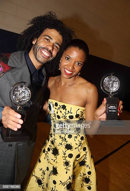 Actor Daveed Diggs poses with his award for Best Performance by an Actor in a Featured Role in a Musical for Hamilton with actress Renee Elise...