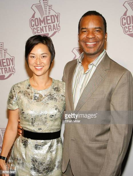 Actor David Alan Grier and his wife Christine Y Kim arrive at Comedy Central's Emmy Awards party at the STK restaurant September 21 2008 in Los...