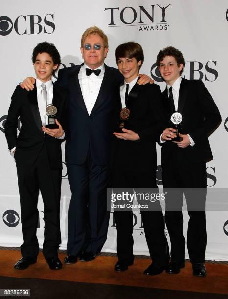 "Actor David Alvarez, composer, Sir Elton John, actor Kiril Kulish and actor Trent Kowalik, winners of Tony Award for best Musical for ""Billy Elliot,..."