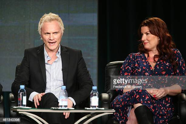 Actor David Anders and executive producer Diane RuggieroWright speak onstage during the 'iZombie' panel as part of The CW 2015 Winter Television...