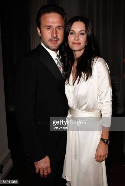 Actor david Arquette and actress Courteney Cox Arquette attend the Art of Elysium 2nd Annual Heaven Gala held at Vibiana on January 10, 2009 in Los...