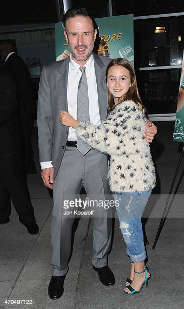 Actor David Arquette and daughter Coco Arquette arrive at the Los Angeles Special Screening of 'Just Before I Go' at ArcLight Hollywood on April 20...