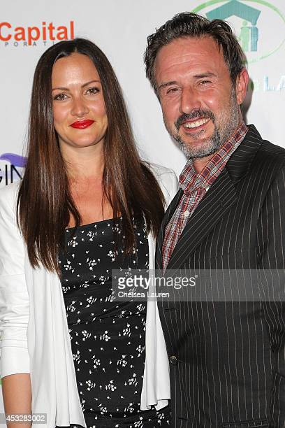 Actor David Arquette and fiancee Christina McLarty arrive at THE IMAGINE BALL at House of Blues Sunset Strip on August 6 2014 in West Hollywood...