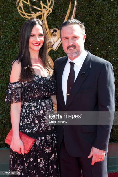 Actor David Arquette and wife Christina McLarty arrive at the 44th Annual Daytime Emmy Awards at Pasadena Civic Auditorium on April 30 2017 in...