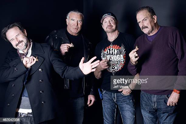 Actor David Arquette and wrestlers Scott Hall Diamond Dallas Page and Jake 'The Snake' Roberts from 'The Resurrection of Jake The Snake Roberts' wear...