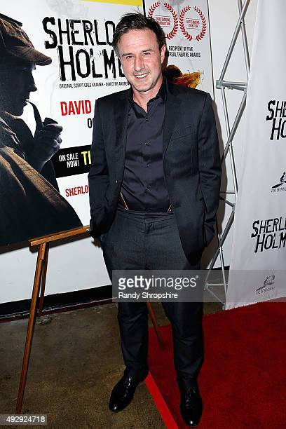 Actor David Arquette arrives to the opening night of Sir Arthur Conan Doyle's Sherlock Holmes at The Ricardo Montalban Theatre on October 15 2015 in...