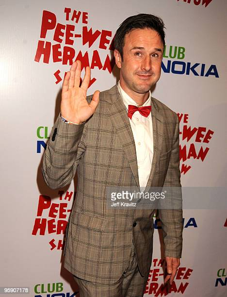 Actor David Arquette arrives to the opening night of The Peewee Herman Show Los Angeles Opening Night at Club Nokia on January 20 2010 in Los Angeles...