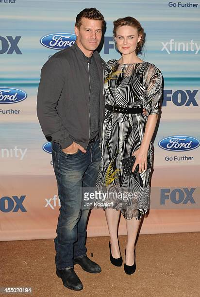Actor David Boreanaz and actress Emily Deschanel arrive at the 2014 FOX Fall EcoCasino Party at The Bungalow on September 8 2014 in Santa Monica...