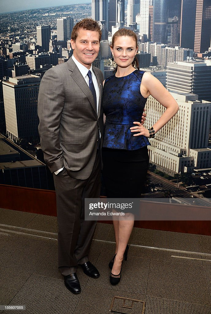 Actor David Boreanaz (L) and actress Emily Deschanel attend FOX's 'Bones' City of Los Angeles City Council Presentation at Los Angeles City Hall on November 9, 2012 in Los Angeles, California.