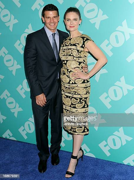 Actor David Boreanaz and Actress Emily Deschanel attend the FOX 2103 Programming Presentation PostParty at Wollman Rink in Central Park on May 13...