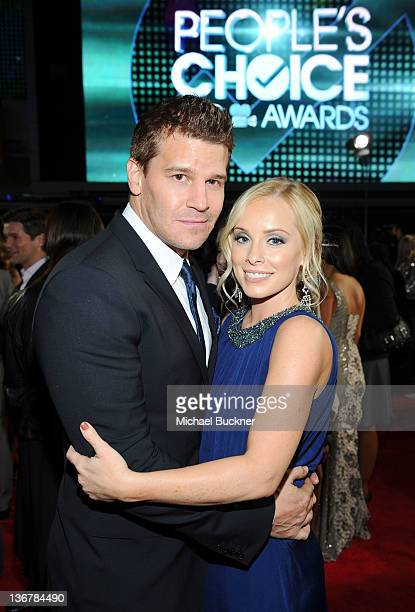 Actor David Boreanaz and wife Jaime Bergman arrive at the 2012 People's Choice Awards at Nokia Theatre LA Live on January 11 2012 in Los Angeles...