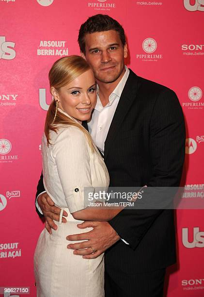 Actor David Boreanaz and wife Jaime Bergman arrive at the Us Weekly Hot Hollywood Style Issue celebration held at Drai's Hollywood at the W Hollywood...