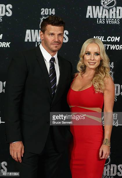 Actor David Boreanaz and wife Jaime Bergman arrive on the red carpet prior to the 2014 NHL Awards at Encore Las Vegas on June 24 2014 in Las Vegas...
