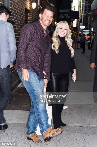 Actor David Boreanaz and wife Jaime Bergman visit the 'The Late Show With Stephen Colbert' at the Ed Sullivan Theater on September 26 2017 in New...