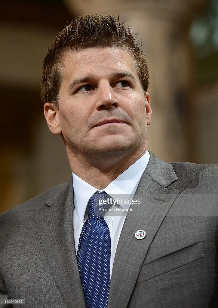 Actor David Boreanaz attends FOX's 'Bones' City of Los Angeles City Hall Presentation at Los Angeles City Hall on November 9, 2012 in Los Angeles, California.