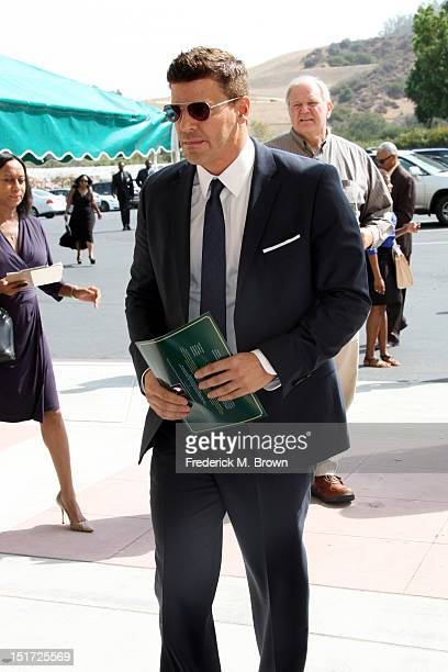 Actor David Boreanaz attends Michael Clarke Duncan's Memorial Service at Forest Lawn Cemetery on September 10 2012 in Los Angeles California