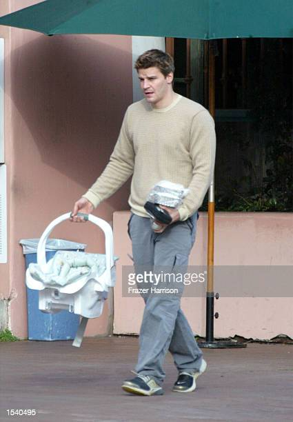 Actor David Boreanaz leaves The Ivy On The Shore restaurant after dining with his wife, actress Jaime Bergman and their newborn baby May 7, 2002 in...