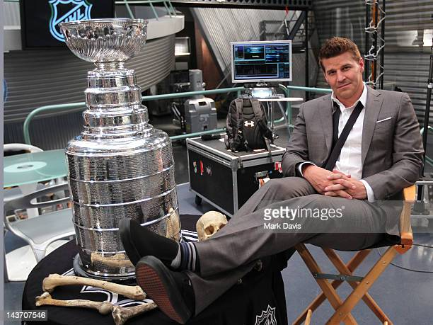 Actor David Boreanaz poses with the National Hockey League Stanley Cup on the set of 'Bones' at the Twentieth Century Fox Studio Lot on May 2 2012 in...