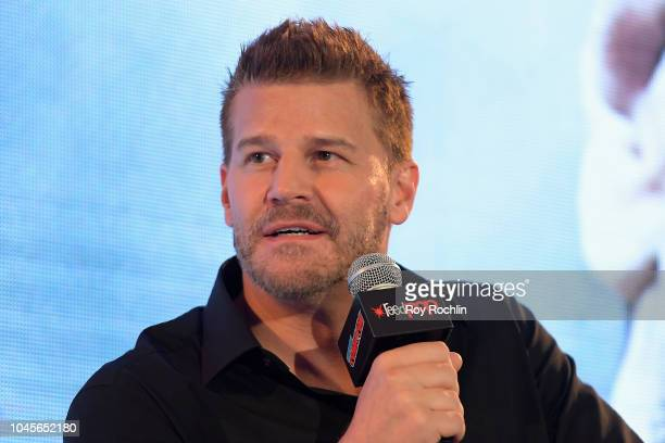 Actor David Boreanaz speaks onstage during A Conversation with David Boreanaz panel during New York Comic Con 2018 at Javits Center on October 4 2018...