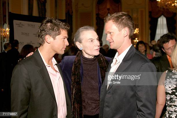 Actor David Burtka actress Marion Seldes and actor Neil Patrick Harris attend The Tony Awards Honor Presenters And Nominees at the Waldorf Astoria on...