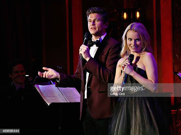Actor David Burtka performs on stage with actress Kate Reinders at 54 Below on November 25 2014 in New York City