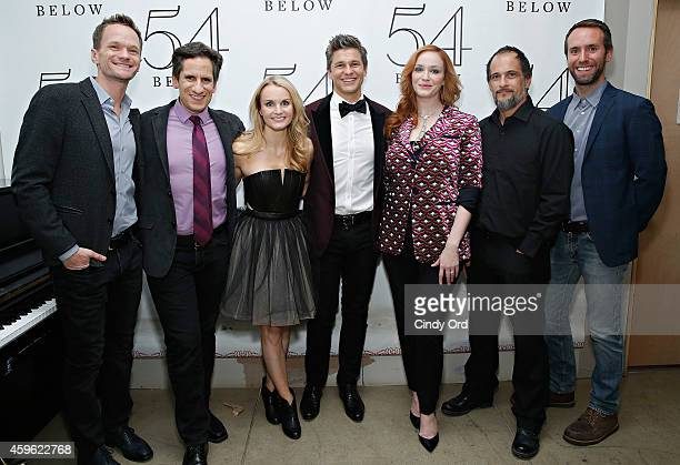Actor David Burtka poses for a photo backstage with actor Neil Patrick Harris musical director Seth Rudetsky actress Kate Reinders actress Christina...
