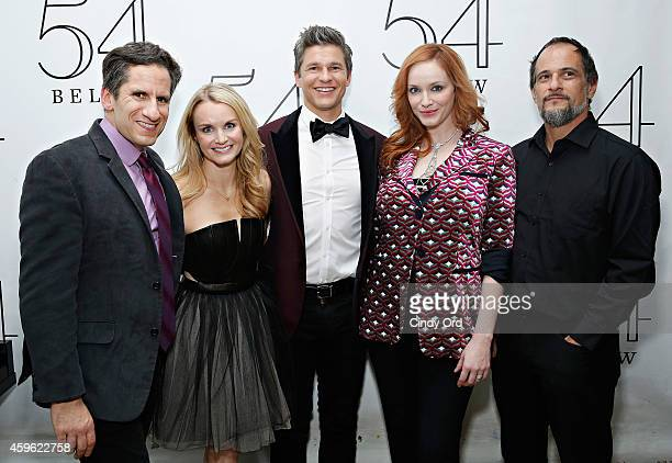 Actor David Burtka poses for a photo backstage with musical director Seth Rudetsky actress Kate Reinders actress Christina Hendricks and singer Jason...