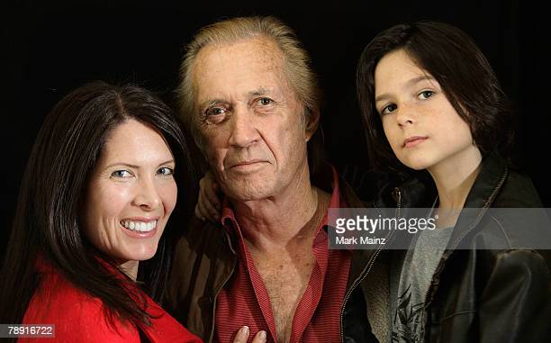 Actor David Carradine his wife Annie Bierman and son Max pose during the 2008 World Experience DPA gift lounge held at the The Peninsula Hotel on...