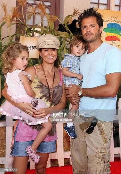Actor David Charvet and Brooke Burke arrive at camp Ronald McDonald for good times 17th annual Halloween Carnival at Universal Studios Backlot on...