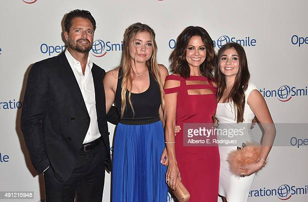 Actor David Charvet Neriah Shae Fisher TV host Brooke BurkeCharvet and Sierra Sky Fisher attend Operation Smile's 2015 Smile Gala at the Beverly...