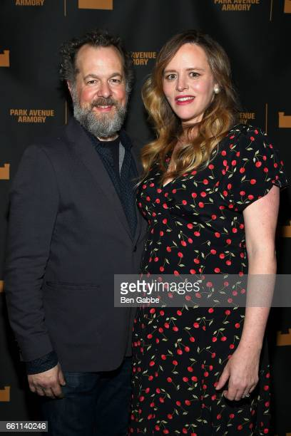 Actor David Costabile and actress Eliza Baldi attend The Hairy Ape's Opening Night Party at the Park Avenue Armory on March 30 2017 in New York City