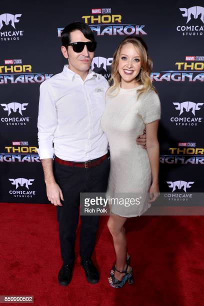 Actor David Dastmalchian and Evelyn Leigh at The World Premiere of Marvel Studios' 'Thor Ragnarok' at the El Capitan Theatre on October 10 2017 in...