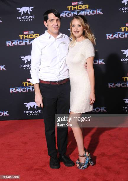 Actor David Dastmalchian and Evelyn Leigh attend the World premiere of Disney and Marvel's 'Thor Ragnarok' at El Capitan Theatre on October 10 2017...