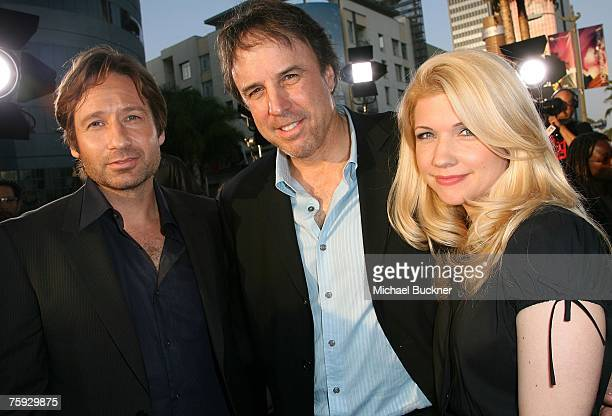 Actor David Duchovny actor Kevin Nealon and wife Susan Yeagley arrive at the premiere of Showtime's Weeds Season 3 and Californication at the...