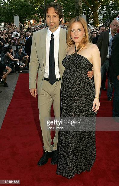 Actor David Duchovny and actress Gillian Anderson attend The XFiles I Want To Believe film premiere held at the Empire Leicester Square on July 30...