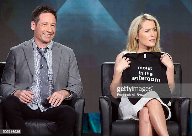Actor David Duchovny and actress Gillian Anderson speak during the FOX segment for the television show 'The X Files' at the Langham Hotel on January...