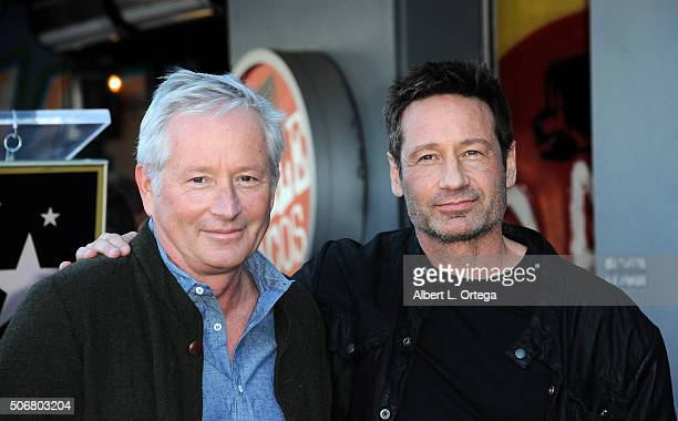 Actor David Duchovny and brother Daniel Duchovny attend the star on the Hollywood Walk of Fame ceremony held on January 25 2016 in Hollywood...