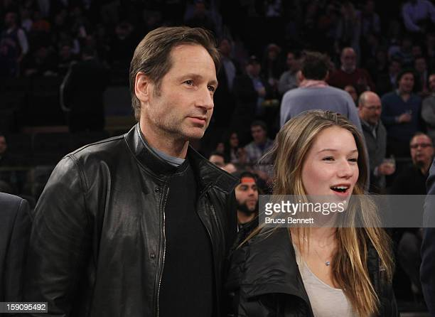 Actor David Duchovny and his daughter Madelaine take in the game between the New York Knicks and the Boston Celtics at Madison Square Garden on...