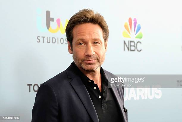Actor David Duchovny arrives at the Premiere of NBC's Aquarius Season 2 at The Paley Center for Media on June 16 2016 in Beverly Hills California