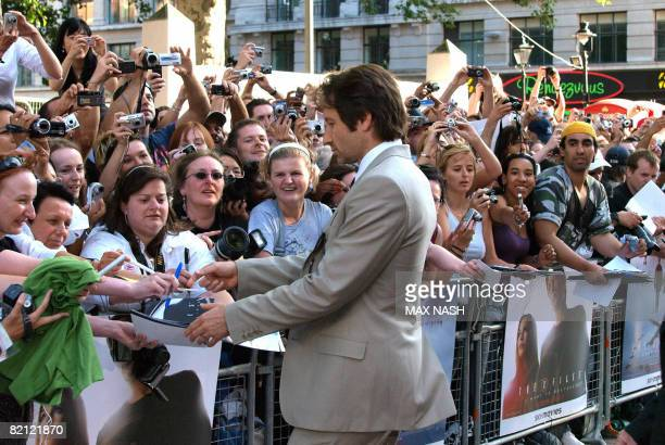 US actor David Duchovny arrives for the British premiere of the 'X Files I want to believe' directed by Chris Carter in London's Leicester Square on...
